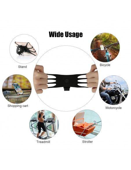 Support Téléphone Universel pour Trottinette/Vélo Anti-Vibrations en Silicone Rotatif à 360°