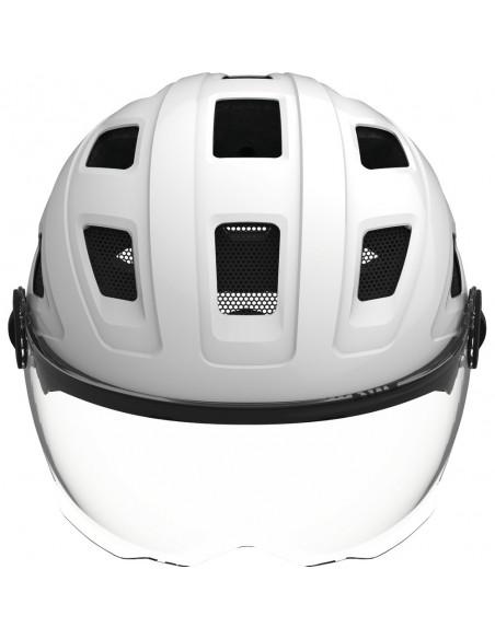 Casque ABUS Hyban + Blanc avec LED Arrière et Visière